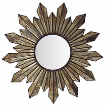 Elegant Mirrored Glass Sunburst Mirror