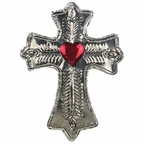 Etched Mexican Tin Cross with Heart