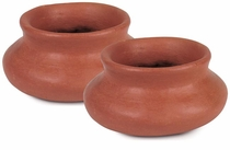 Extra Small Terra Cotta Curvy Flat Pot - Pair