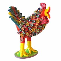 Floral Screaming Chicken - Clay Folk Art
