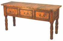 French 3-Drawer Wood Console with Copper