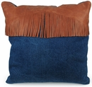 Frontier Denim and Leather Pillows - Set of 2 - 16""