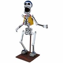 Paper Mache Skeleton Rollerblader - Day of the Dead Figure