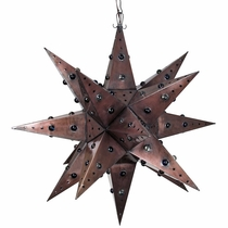 "Giant Aged Tin Star Light with Marbles - 36"" Dia."