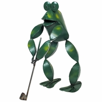 Golfing Frog Metal Garden Art Sculpture