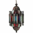 Gothic Column Hanging Light Fixture Tin and Colored Glass