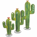 Green Painted Metal Saguaro Cactus Sculptures - Set of 3