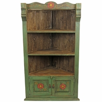 Green Painted Wood Corner Cabinet with Carved Flower Designs