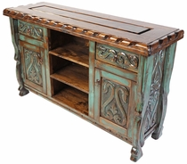 Green Patina Painted Wood Carved Floral Buffet with Scalloped Edge Top