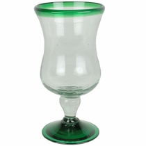 Green Rim Curvy Mexican Water Goblets - Set of 4