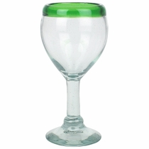 Green Rim Mexican Wine Glasses - Set of 4