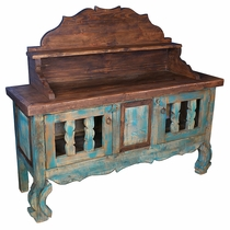 Green Rustic Wood Sideboard with Shelf & Backsplash