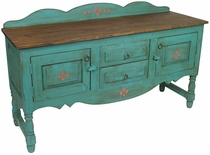 Green Santa Fe Style Buffet or Entertainment Console