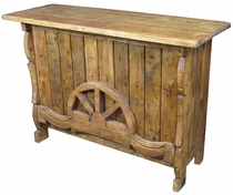 Half Wagon Wheel Rustic Wood Bar
