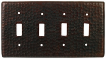 Hammered Copper Quad Toggle Switchplate