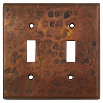 Hammered Copper Switchplate - Double Toggle
