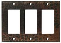 Hammered Copper Triple Rocker Switchplate