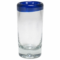 Hand Blown Blue Rimmed Shot Glasses - Set of 4
