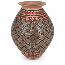 Hand Painted Mata Ortiz Vase with Intricate Native Pattern