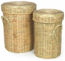 Hand Woven Mexican Cane Baskets with Lids - Set of 2