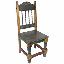 Painted Wood Mexican Dining Chair with Twisted Iron