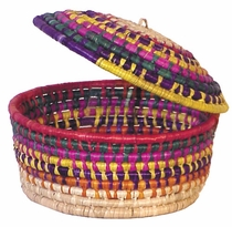 Handwoven Palm Tortilla Basket with Lid