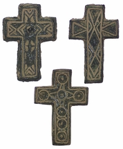 Hanging Aged Clay Crosses - Set of 3