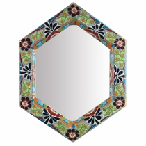 Hexagonal Talavera Mirror