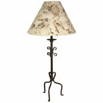High Foot Wrought Iron Table Lamp with Bark Paper Shade