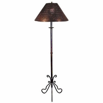 Wrought Iron Butterfly Base Floor Lamp with Punched Tin Shade