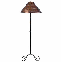 Iron Gatling Floor Lamp with Punched Tin Marble Shade