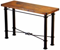 Knotted Iron Base Console with Copper Top