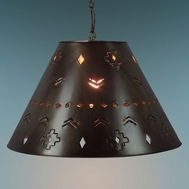 Large Aged Tin Southwest Hanging Shade Light