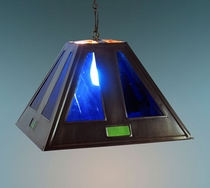 Large Blue Glass & Tin Pendant Shade