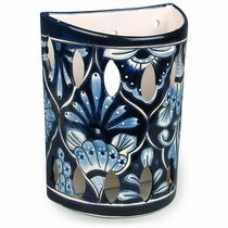 Large Blue & White Talavera Wall Sconce