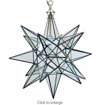 Large Clear Glass Hanging Star Light