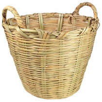 Large Hand Woven Mexican Cane Basket with Handles