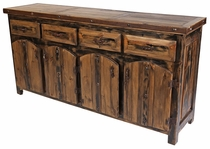 Large Iron Banded Rustic Wood Buffet with Thick Curved Top Doors