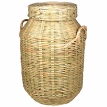 Large Mexican Woven Cane Storage Basket with Lid