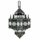 Large Moroccan Punched Tin and Frosted Glass Hanging Light