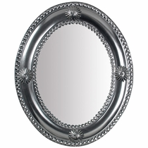 Large Natural Tin Concho Oval Mirror