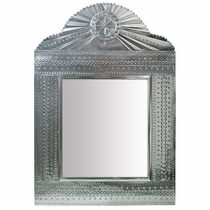 Large Natural Tin Mexican Wall Mirror with Curved Fan Top