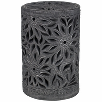 Large Oaxacan Black Clay Cyclinder Luminaria with Flowers