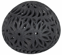 Large Oaxacan Carved Black Clay Luminaria