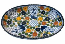 Large Oval Bougainvillea Talavera Serving Bowl
