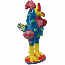 Large Painted Clay Rooster