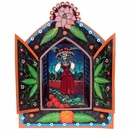 Large Painted Tin Nicho with Catrina Print
