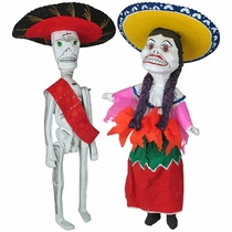 Day of the Dead China and Charro Skeleton Pair - Large Paper Mache