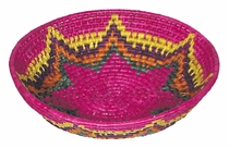 Large Round Mexican Woven Palm Bread Basket, Multi-Color