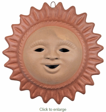 Large Terra Cotta Sun Face